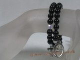 rybr019 Hand-wrapped black onyx& crystal beads rosary bracelet