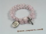 rybr020 Hand-wrapped round pink baroque crystal rosary bracelet