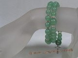 rybr021 Hand-wrapped round green chinese jade rosary bracelet