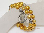 rybr025  Hand-wrapped whorl pearl rosary bracelet in wholesale