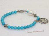 rybr033 Hand-made 6mm blue turquoise rosary bracelet