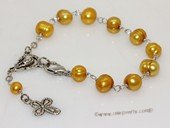 rybr035  Wire-wrapped freshwater pearl rosary bracelet in wholesale