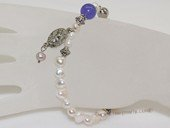 rybr040 wholesale 6-7mm white nugget pearl rosary bracelet