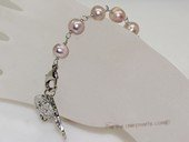rybr041  Wire-wrapped freshwater pearl rosary bracelet in wholesale