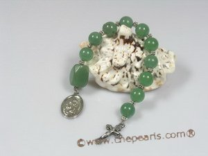 ryc001 Sacred green jade One Decade Rosary pocket Chaplet