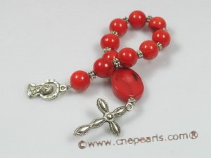 ryc002 Sacred red coral One Decade Rosary pocket Chaplet