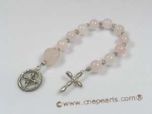 ryc003 Sacred rose quartz One Decade Rosary pocket Chaplet