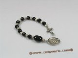 ryc006 Sacred 8mm black agate One Decade Rosary pocket Chaplet