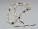 ryn001 handcraft 8-9mm potato pearl Rosary necklace with faceted crystal beads