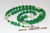 ryn003 handcraft 10mm chinese jade Rosary necklace with heart-shape lampwork beads