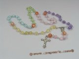 ryn004 Wire-wrapped multicolor  round crystal beads Rosary necklace in wholesale