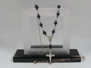 ryn005 Rosary necklace made with 8mm Blue Sand gemstone beads