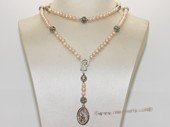 ryn012 hand knit 4-5mm pink potato pearl Rosary necklace with  Mary and  St. Christopher  Pendant