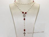 ryn016 Wire-wrapped potato pearl Rosary necklace in wholesale