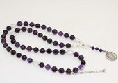 ryn017 Hand knit amethyst bead Mary Pendant Rosary necklace