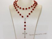 ryn018 Wire-wrapped red agate Rosary necklace in wholesale