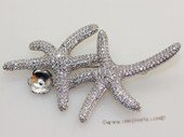 sbrm003 Starfish Pendant  Brooch Mounting  in Sterling Silver with Zircon
