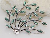 sbrm004 Branch Style Pendant  Brooch Mounting  in Sterling Silver with Zircon