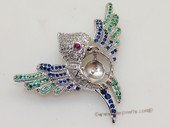 sbrm011 Sterling Silver  Zircon Pendant  Brooch Mounting  in Bird Design