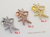 sbrm013 Starfish Pendant  Brooch Mounting  in Sterling Silver with Zircon