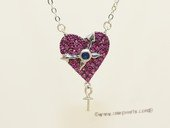 sc097  925 Sterling silver  chain with heart pendant mounting