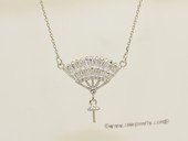 sc103 Sterling silver fan pendant mounting with 925 silver  chain