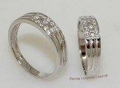 scj005 Sterling Silver Zircon Promise Couple Rings Set for Two