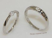 scj006 His and Her Lovely Heart Sterling Silver Zircon  Couple Rings