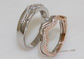 scj011 Clear Zircon 925 Silver Couple Rings Lover Gift