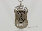 scj015 Love&Love  Engraved Matching Sterling Silver Couple Pendants