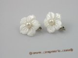 SE007 20mm carve flower shell sterling clip earrings with 5.5-6mm pearl