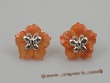 SE012 18mm peach carve flower design shell sterling studs earrings