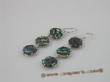 se016 13mm ABALONE SHELL dangle earrings with sterling hook
