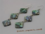 se019 15*15mm ABALONE SHELL dangle earrings with sterling hook