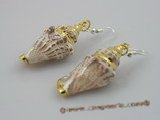 SE033 925silver hoook and 40mm spiral CONCH Shell dangle earrings