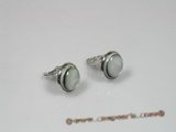 se051 Silver 16mm round mother of pearl shell clip earrings