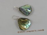 se053 925silver ear hook dangling with tear-drop ABALONE SHELL