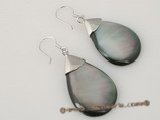 se054 sterling tear-drop shell dangle earrings in wholesale