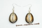 SE055 oval gild tone CONCH Shell dangle earrings with 925 silver ear hook