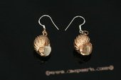 SE058 925silver hook  earrings of spiral gold tone CONCH Shell dangle/drop