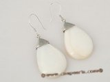 se064 sterling silver oval-drop mother of pearl dangle earrings on sale