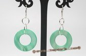 Se069 25mm Orbicular Donuts Mother of Pearl Shell Lever Black earrings