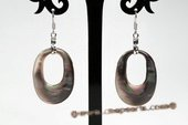 SE074 25mm Sea Shell Oval Silver Toned Pierced Dangle Earrings