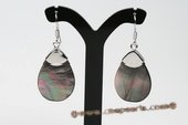 SE075 Silver Toned 18*29mm Oval Sea Shell Pierced Dangle Earrings