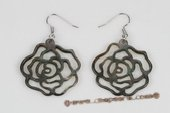 SE076 Hand Carved Flower Black Shell Silver Toned Dangle Earrings