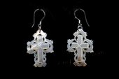 SE077 Hand Carved 20*30mm Cross Shell Silver Toned Earrings