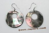 SE079 35mm Silver Toned Round Shell Pierced Dangle Earrings