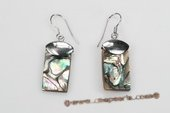 SE080 Silver Toned Pierced Earrings with Square Abalone shell, 14*30mm