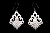 SE081 Hand Carved 28*38mm Flower Shell Silver Toned Earrings
