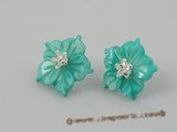 SE008 18mm blue carve flower design shell sterling studs earrings